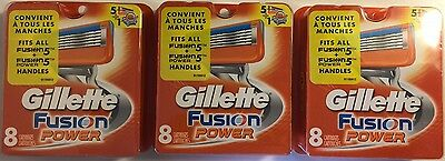 Gillette Fusion Power Razor Cartridges. 3 packs 8 cartridges in each (24 total)