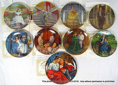 "LOT 9 VINTAGE KNOWLES ""GONE WITH THE WIND"" COLLECTOR PLATES w/ COAs • $29.95"