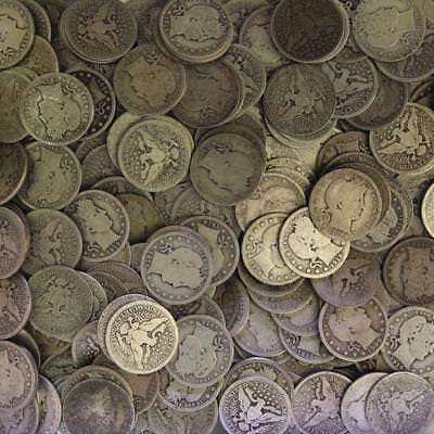 Barber Quarter Roll 90% Silver $10 Face 40 Circulated Mixed Date US Coin Lot