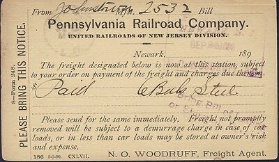 Pennsylvania Railroad Company Postal Card 1890 Freight Agent