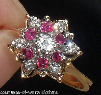 STUNNING ART DECO 0.50ct DIAMOND & RUBY 14ct YELLOW GOLD DAISY CLUSTER HALO RING