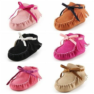 b26ba1c9070c2 Toddler Kids Baby First Walkers Fringe Moccasins Crib Soft Moccs Bow Shoes  Boots