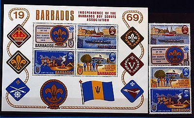 4 TIMBRES NEUFS +BLOC  BARBADOS SCOUTS   1971 Scott 323  BD108