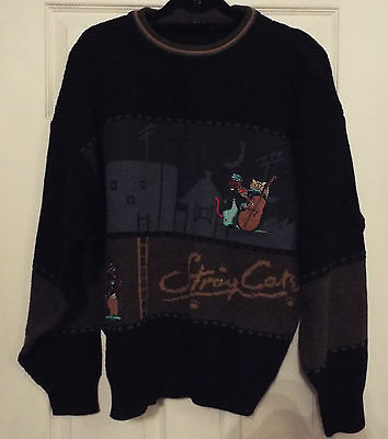 Quirky Vintage PRESCOTT Stray Cats Unisex Embroidered Ugly Sweater Jumper Sz L