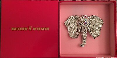 New & Boxed BUTLER & WILSON 80950 Large Crystal Elephant Head Brooch - Clear