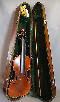 Ca. 1920 Antique GERMAN Durro BOW & Old VIOLIN in WOOD CASE Old CARVED FIDDLE