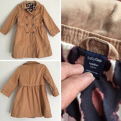 Baby Gap Tan Leopard Print Trench Coat Jacket Toddler 3 Years Girls Kids
