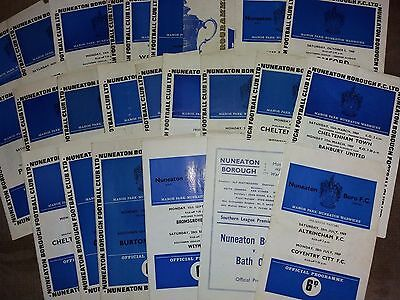 Nuneaton Borough HOME programmes 1960s non league