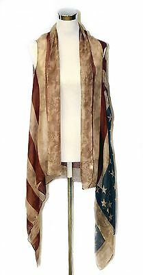 Fashion New style Women American Flag Vest Open Front Cover