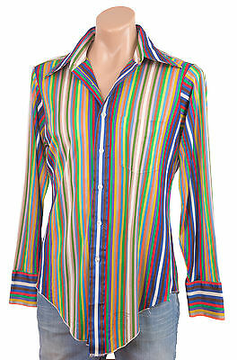 Vintage 1970s DISCO SHIRT Slinky Silky Sheer Striped Wide Pointy Collar Mens M