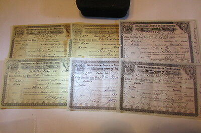 Collection Of 6 Rare Vintage Odd Fellows Official Certificate 1929s-1930s Nevada