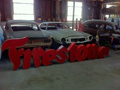 Large Vintage Firestone Store Front  Neon Letters Sign