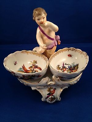 Antique Kpm Berlin German Porcelain Salts,  With Cherub / Putto, Birds & Insects