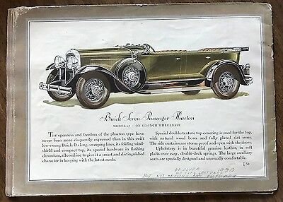 Original 1930 Buick Sales Brochure Vintage Car Advertising