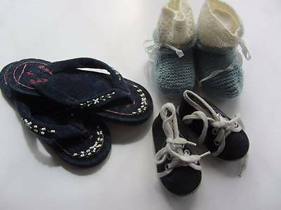 3 pairs of vintage children's shoes baby booties flip flops trainers 30's 50's
