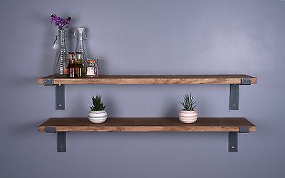 300mm Solid Oak Vintage Industrial Shelf - Including Metal Brackets - Shelves