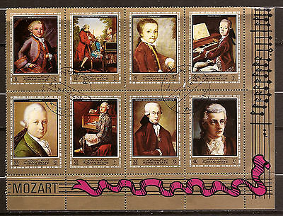 105T4 AJMAN 1 bloc sheet of 8 stamps defaced MOZART composer music