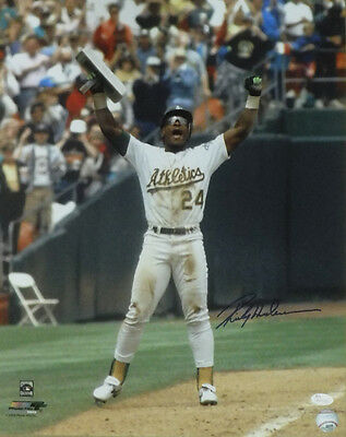 Rickey Henderson Autographed Oakland Athletics 16X20 Photo Arms Up 14618 Jsa
