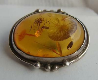 Fine Vintage Sterling SILVER Domed Baltic AMBER Brooch H/M Sheffield Import 1994