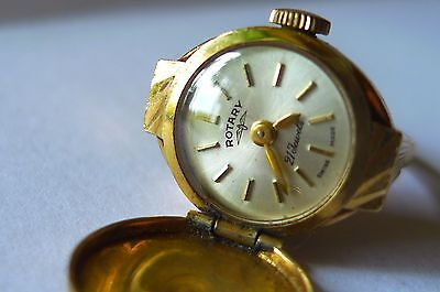 9ct gold ladies Rotary ring watch.