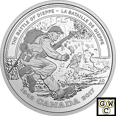 2017Battle of Dieppe-Battlefront'Prf $20 Gold-Plated Silver 1oz .9999Fine(18056)