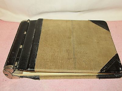 Vintage Antique Accounting Junior Ledger Book Binder - Leather & Corduroy Cover