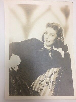 Loretta Young actress signed (printed) photo 1940s, large size