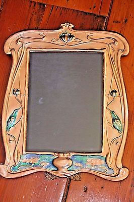 Art Nouveau Style Copper Frame Large Blue Green Enamel With Kingfisher Birds