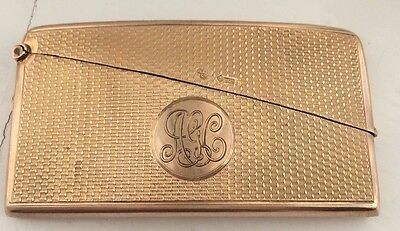 An Art Deco Solid 9ct Gold Machine Turned Card Case Hm London Gold H Woodward