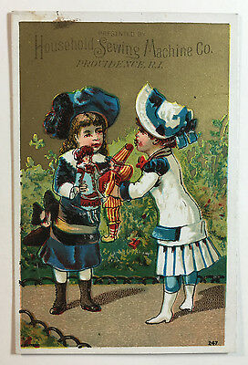 Household Sewing Machine Co. Victorian Trade Card - Children With Dolls / Toys