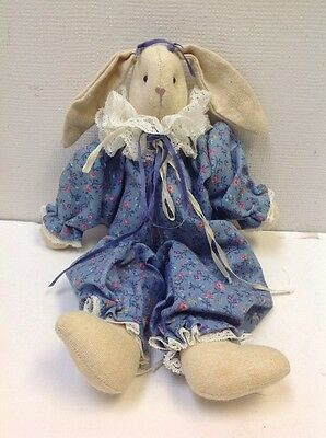 VINTAGE Handmade Stuffed Plush Country/Primitive Rabbit Bunny Blue Dress 12""