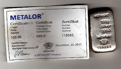 Metalor 100g Silver Bar with certificate