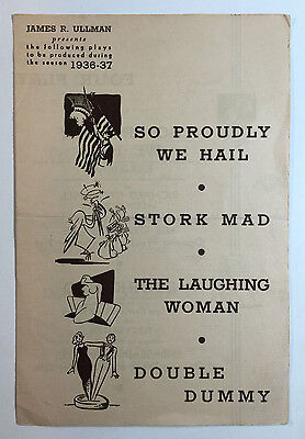 Vintage Theatre Brochure James R Ullman Four New Plays For Season 1936 - 37