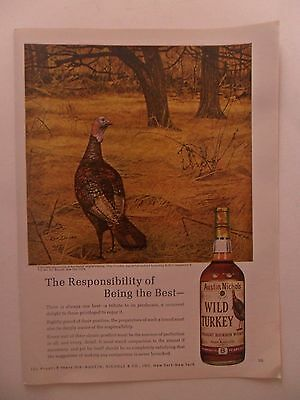 1967 Print Ad Wild Turkey Bourbon Whiskey ~ Ken Davies Art