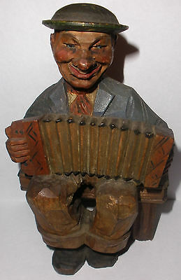 Antique early Anri carved man accordion player musician wood figure