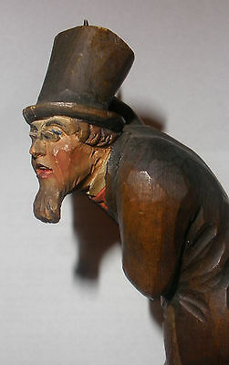 Antique early Anri carved man wood figure figurine magican ? with label
