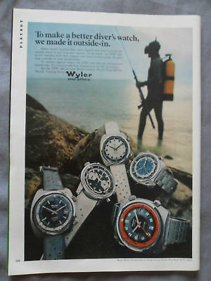 1970 Print Ad Wyler ITB 660 Divers Watch Scuba