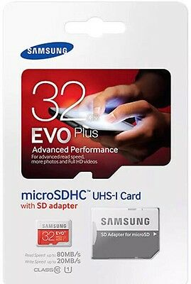 samsung evo plus 32gb SDXC micro sd card 80mb/sec UHS/l class 10 with Adapter