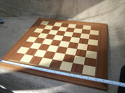 Vintage Wooden Chess Board, Large, Maple and Hardwood Inlay