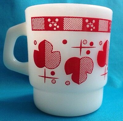 Fire King Atomic Maple Leaf Red Coffee Mug Vintage Anchor Hocking