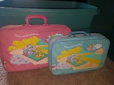Care Bears Suit Cases Setting Sail For Grandma's Vintage 1986 Luggage Set of 2