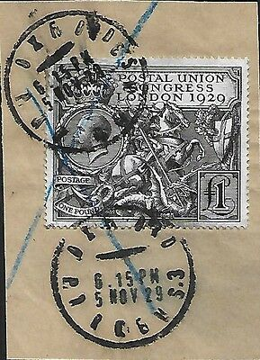 Gb Kev 1929 On Piece Puc £1 Sg266 With Cds Of Oxford Parcels
