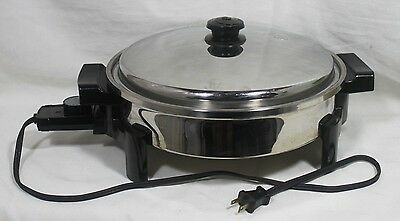 "Saladmaster Electric Skillet #7256 12"" Vapo Lid & Power Cord"