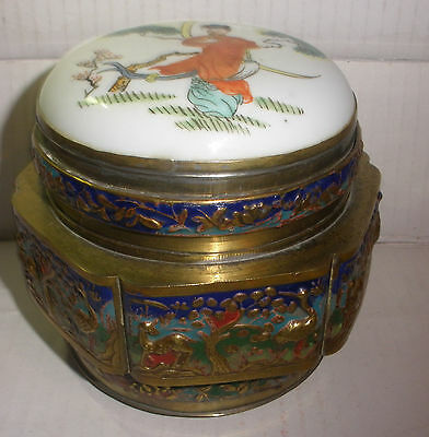 Nice Vintage Antique Chinese Enamel Animals  Box With Porcelain Top Woman Scene