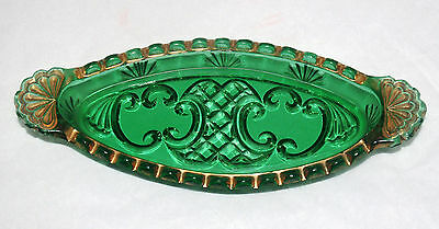Antique Croesus Riverside 484 Eapg Emerald Glass Gilt Oval Relish Tray