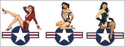 Pin Up Aufkleber Sticker Set USAF Retro Oldschool Rockabilly