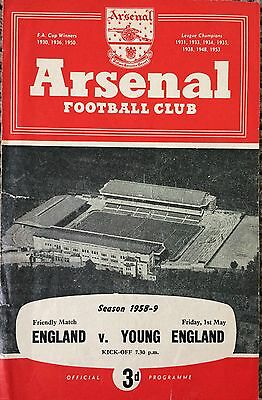 1959 - England v Young England @ Arsenal - 4 page Friendly