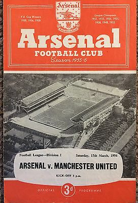 1956 - Arsenal v Manchester United - 4 pager  - Division 1