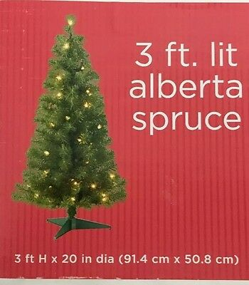 """3 Ft Christmas Alberta Spruce Tree 125 Tips 35 Clear Light 3 ft X 20"""" Fake"""