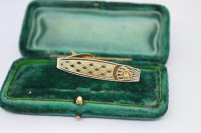 Vintage yellow metal tie clip in the art deco style #T523